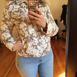 NWT Analogy Steinmart Floral Textured Jean Jacket